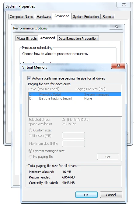 Bộ nhớ ảo quá thấp - Lỗi Windows phổ biến