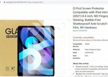 iPad Mini 6 chưa ra mắt, dán cường lực đã đăng tải trên Amazon